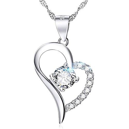 ZENDY in argento sterling 925, a forma di cuore con zirconi, collana in argento sterling per donna