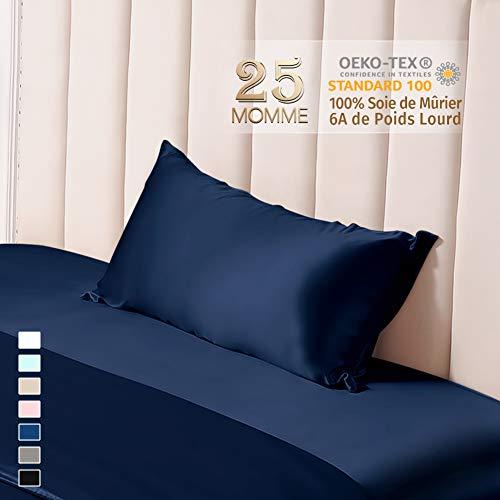 THXSILK 25 Momme - Funda de almohada de seda por ambos lados 100% natural, funda de cojín para el cabello y la piel con cremallera oculta, seda, azul marino, 40 x 60 cm