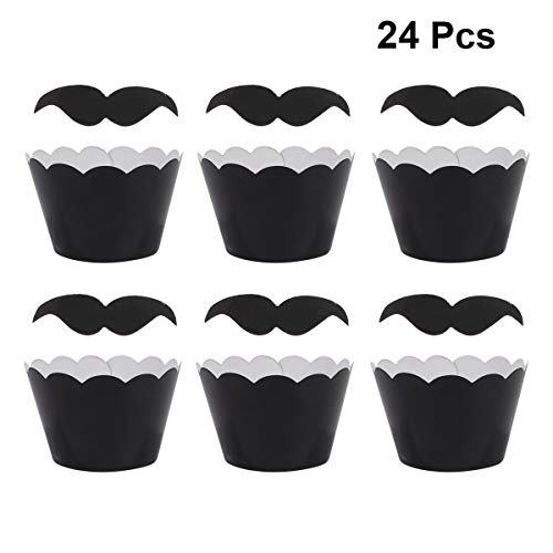 Cupcake cases 24pcs Moustache Cupcake Wrappers Cake Paper Cups Black Paper Cupcake Wrapper Muffin Cup Cake Wrappers And Cake Topper Party