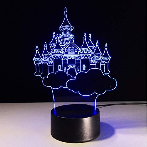 Veilleuse Nouveauté Mode 7 Changement De Couleur 3D Fantasy Château Dans Le Ciel Lampe De Table Enfant Enfant Chambre Décor Night Light Friend Anniversaire Cadeaux