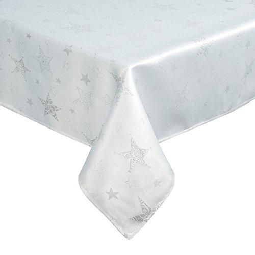 Tovaglia, Guida Da Tavolo, Natalizia, Colore: Bianco, Con Motivo Di Stelle Argentate, Linea: Blink 3, Plastica, Weiß+Silber, 150 X 300 Cm.