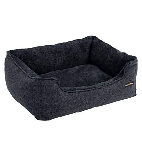 FEANDREA Hundebett, Bezug abnehmbar, 70 x 55 x 21 cm, dunkelgrau PGW010G01