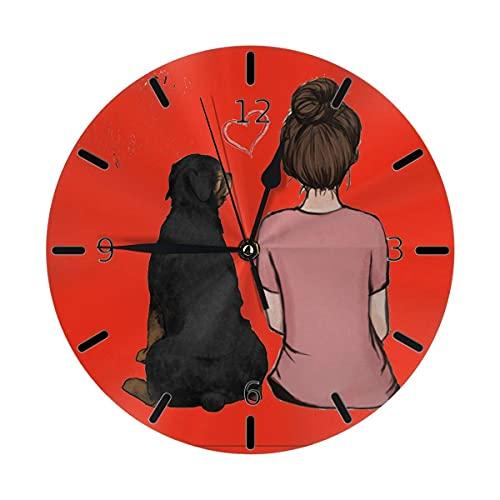 qinhuang Rottweiler - Reloj de pared para mujer, diseño de perro, color negro