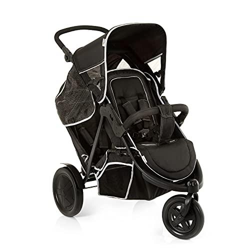Hauck Freerider Silla de paseo gemelar para 1 o 2 niños de diferentes edades, asientos desmontables, tandem, de 0 meses (acoplando capazo blando) hasta 2 x 15 kg, dos protectores de lluvia, negro