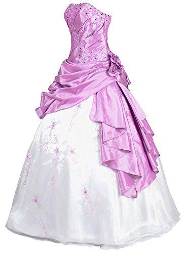 FairOnly R37 Frauen Trägerlosen Abendkleid Ballkleid (M, Weiß Lavendel)
