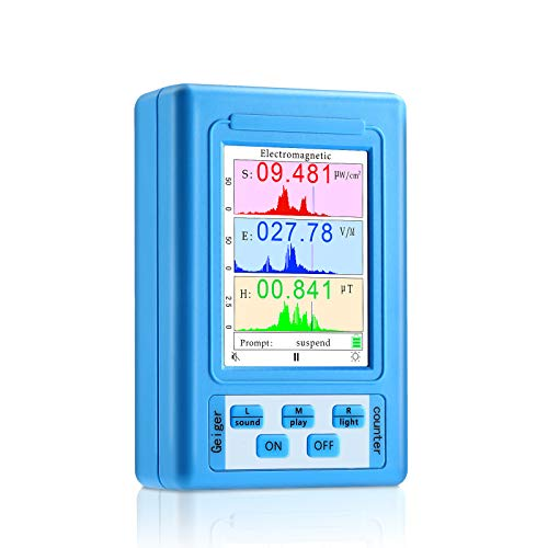 EMF Meter, Electromagnetic Field Radiation Detector, Handheld Digital LCD EMF Detector Display of Data and Trend Graphs Electromagnetic Radiation Tester for Home/Office/Outdoor, Geiger Counter