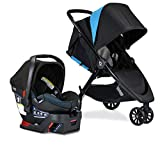 Britax B-Lively Travel System with B-Safe Ultra Infant Car Seat| 2 Layer Impact Protection, Birth to 55 Pounds, One Hand Fold, XL Storage, Ventilated Canopy, Easy to Maneuver, Cool Flow Teal