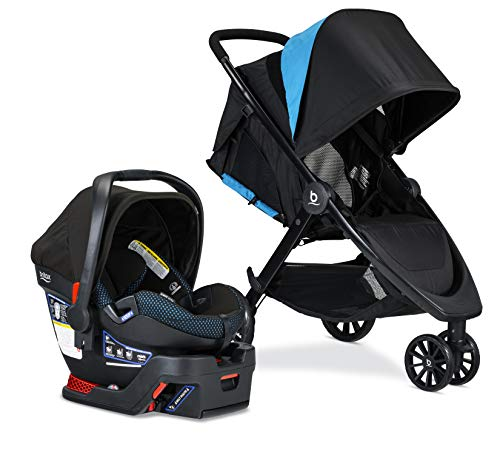 britax B-Lively Travel System with B-Safe Ultra Infant Car Seat, 2 Layer Impact Protection, Birth to 55 Pounds, One Hand Fold, XL Storage, Ventilated Canopy, Easy to Maneuver, Cool Flow Teal