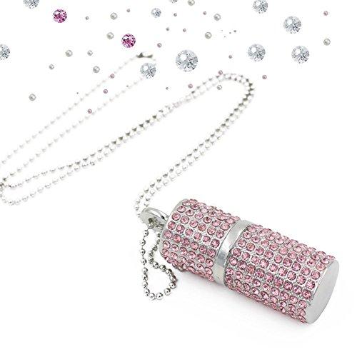 Shooo Chiavetta USB,Bling Rhinestone Diamond Crystal Glitter Rossetto Case Shining Jewelry Collana,64GB,Sakura Rosa