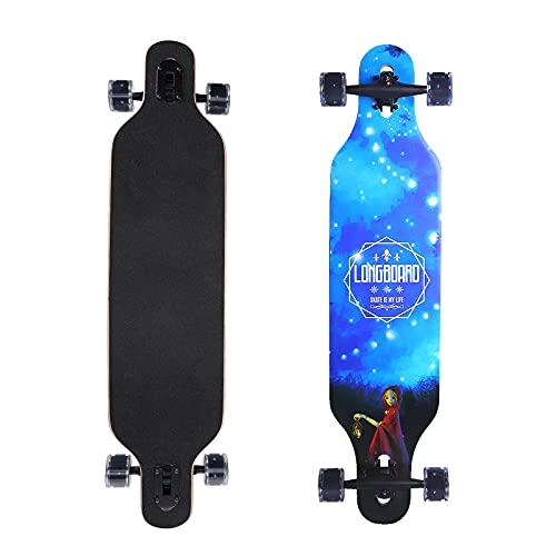 Longboard Skateboard Profi Anfänger, Erwachsene Jungen und Mädchen Bürste Street Dance Board (Blau)
