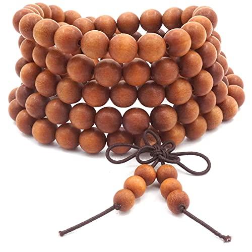 Cakunmik 108 unidades de collar de pulsera mala, para hombre y mujer, budista tibetano, para meditación, oración, buda, mala, nudo chino, para regalo de niño, niña, 6 mm