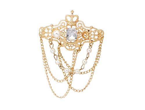 Knighthood Herren Gold Gekrönter weißer Stein mit gravierter Imitationsperle und Hängekette Metall Revers Pin BroscheReversnadel/Lapel Pin/Anzug/Sakko