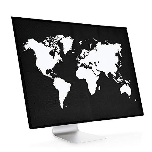 kwmobile Funda Compatible con Apple iMac 21.5' - Cubierta Antipolvo - Mapa del Mundo Blanco/Negro