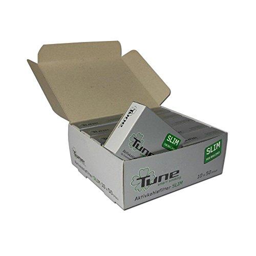 actiTube Slim - Filtri al Carbone Attivo, 10 x 50 Pezzi, Colore: Carbone