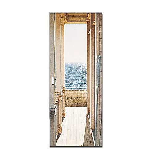 ZXCWE Pegatinas De Puerta 3D Pegatinas De Arte De Pared Autoadhesivas para Puertas Interiores Decoración del Hogar De PVC Pegatinas De Pared Autoadhesivas 38,5 * 200 Cm