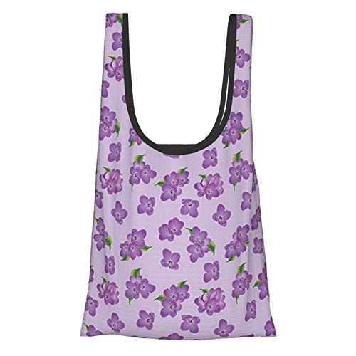 GIERTER malva Decor Kitsch Botany Flower Field Patter con diseño de floretes adornados perenne púrpura verde reutilizable plegable bolsas de compras ecológicas