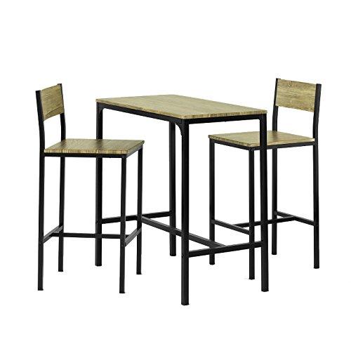 SoBuy® Set tavolino bar con 2 sgabelli, Arredo da giardino,Tavolo da bar, OGT03,IT