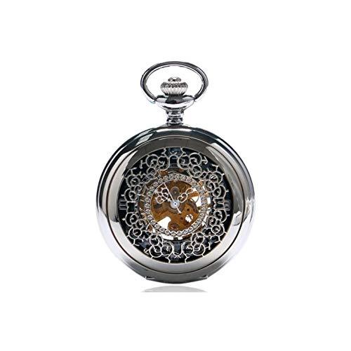 XIXIDIAN Reloj de Bolsillo, Reloj de Bolsillo mecánico Antiguo para Hombre, Reloj de Bolsillo de Acero Inoxidable con Esqueleto analógico de Cadena, Esfera de Esqueleto Retro con Cadena