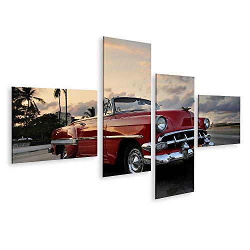 Cuadro en lienzo Vista de un coche clásico americano rojo aparcado en la calle de La Habana contra el cielo del atardecer. Cuadros Modernos Decoracion Impresión Salon