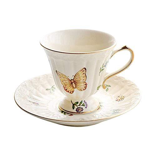 JHGF Juego de tazas de café de cerámica de 200 ml para el hogar retro flor taza de té de la tarde taza de leche con cuchara de agitación, adecuado para decoración del hogar regalos (blanco)