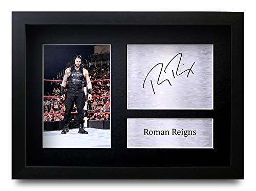 HWC Trading Roman Reigns A4 Gerahmte Signiert Gedruckt Autogramme Bild Druck-Fotoanzeige Geschenk Für WWE Wrestling-Fans