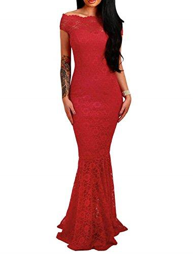 emmarcon Elegante Abito Cerimonia da Donna in Pizzo Stile Sirena Vestito Lungo Damigella Festa-Red-M