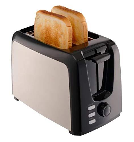 Gemlux Edelstahl Toaster 2 Scheiben, 750W, Extra Breite Schlitze mit Brotzentrierung, 7 Bräunungsstufe, Auftau & Aufwärm Funktion, Doppelschlitz Toaster Schwarz, Herausnehmbar Krümelfach