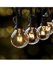 Fochea Lichtsnoer voor buiten, G40, 9,5 m, globe lampen, lichtketting, tuin, voor Kerstmis, bruiloft, feest, buitendecoratie, warm wit