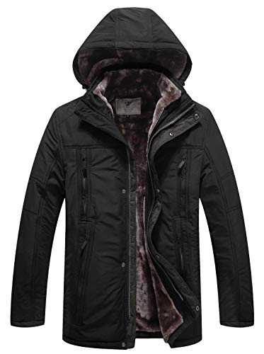 WenVen Men's Military Inspired Long Fleece Lined Hood Parka Jacket(Black,M)