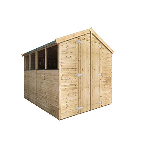 BillyOh Master Tongue and Groove Apex Shed | Pressure Treated Wooden Garden Shed with Floor and Roof Included | Windowed Storage Unit - 4 Sizes (8x6)