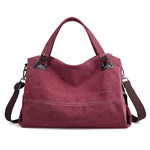 SUNXK European and American retro casual canvas bag handbag simple large capacity Ms. shoulder portable Messenger bag ethnic style theatrical package (Color : Purple color, Size : 43X30X17CM)