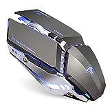 Ratón inalámbrico recargable para gaming, 2,4 G, USB, LED, inalámbrico, óptico, mango ergonómico, 3 DPI ajustable, para MAC/PC/portátil/ordenador (gris)