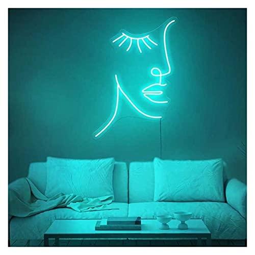 Ideal Custom Shop Personnalisé Girl Face Lashes Néon Signe Logo Intérieur Chambre à Coucher Décoration LED Visual Bar Mur Éclairage Signe Néon Room Décor (Color : Ice Blue, Size : Height 50cm)