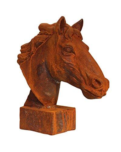 aubaho Skulptur Statue Figur Pferd Eisen Pferdekopf Sculpture Iron Horse Büste Garten