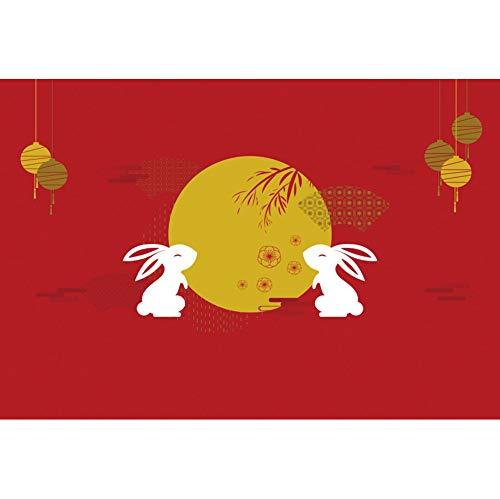 YongFoto 2,2x1,5m Chinesisch Traditionell Wiedersehensfest Mitte Herbst Vinyl Fotografie Hintergr& Kaninchen Silhouette Vollmond Muster Hintergr& Chinesisches Festival Foto Requisiten
