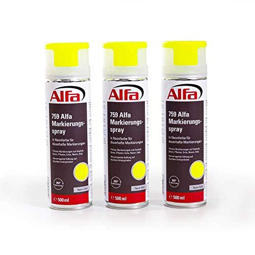 Markierungsspray 3 x neon-gelb 500 ml Markierspray in Neonfarbe für präzise und saubere Markierungen