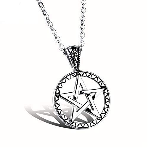 NC122 Necklace Mens Stainless Steel Hollow Pentagram Round Pendant Stone Star Link Chain Men Jewelry Girls Gift