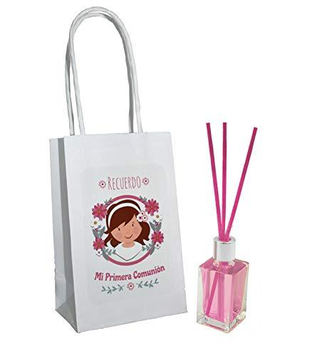 Lote de 25 und ambientador rosas mas varillas comunion niña + bolsa Regalos Originales. Complementos. Detalles para Bodas, Comuniones, Bautizos y Cumpleaños.