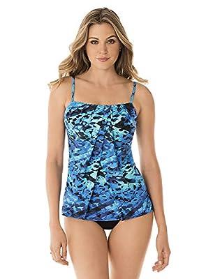 Miraclesuit Women's Swimwear Turning Point Jubilee Flyaway Front Tankini Bathing Suit Top, Blue, 14