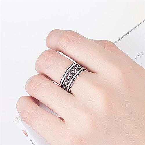 Wagrass Anillos de plata de ley 925 apilables, estilo vintage, gótico, punk, para mujeres y hombres, joyería unisex (piedra principal: WHAH028, tamaño del anillo: redimensionable)