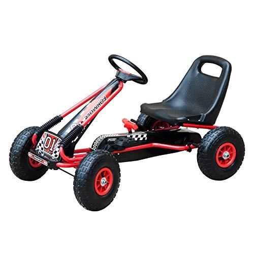 Homcom Vélo et véhicule pour Enfants Kart à pédales siège réglable, Roues gonflables et Frein à Main Acier...