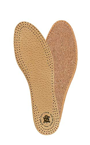 KAPS PECARI Cork Premium Shoe Insoles Made of Top Quality Vegetable Tanned Sheepskin Leather and Natural Cork, Elegant and Comfortable, All Sizes (41 EUR/US 8 Men)