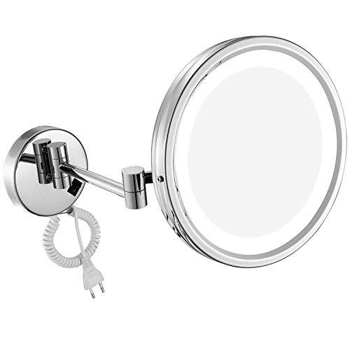 DOWRY Wand LED Kosmetikspiegel Beleuchtet Einseitigespiegel 7 Fach Vergroesserung,Durchmesser 25cm,verchromt M1807D(25CM,7X)