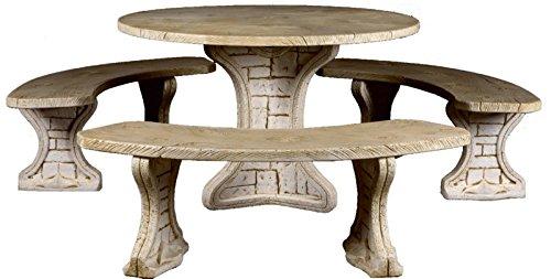 DEGARDEN Conjunto de Mesa Redonda 115cm. de jardín Modelo Tablas y Bancos en hormigón-Piedra para Exterior