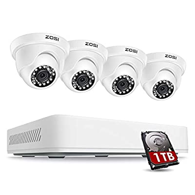 ZOSI Home Security Camera System Outdoor Indoor, 1080p Lite 8 Channel CCTV DVR with Hard Drive 1TB and 4 x 720p Dome Surveillance Camera, 80ft Night Vision, Remote Access, Motion Detection