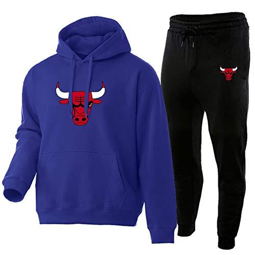 LYDG Bulls # Sudadera con Capucha de Baloncesto 2021 para Hombres, Camiseta de Baloncesto Sudadera con Capucha, Jersey de Manga Larga Equipo de Equipo Uniforme de la Chaq Purple~B-L