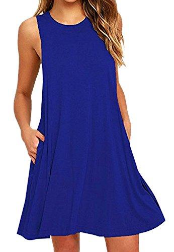 OMZIN Sommer Solid Knielang Tunika T-Shirt Kleid für Damen, XL, Tasche-blau