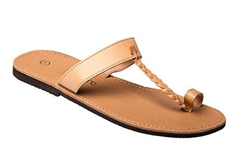 Herren Echt Leder Sandale Jesus Sandalette Sandalen Natur beige Original Kreta 45