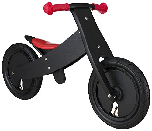 BIKESTAR Mitwachsendes Kinder Laufrad Holz Lauflernrad Kinderrad für Jungen Mädchen ab 2-4 Jahre | 12 Zoll 2 in 1 Kinderlaufrad | Schwarz