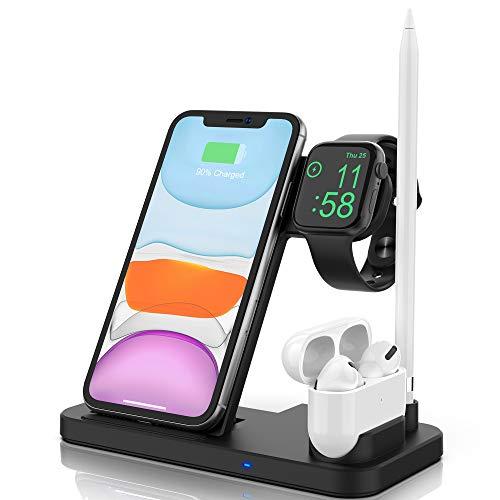 4 in 1 Kabelloses Ladegerät,Apple Watch und AirPods & Pencil Kabellose Ladestation, Nachttisch-Modus für iWatch Serie 5/4/3/2/1, Schnellladung für iPhone 11/11 Pro Max/XR/XS Max/Xs/X/8/8P